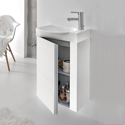 "Royo Elegance Vanity: Wall-Hung Cabinet and Ceramic Sink 18"" (White) with Mirror - Mega Supply Store - 6"