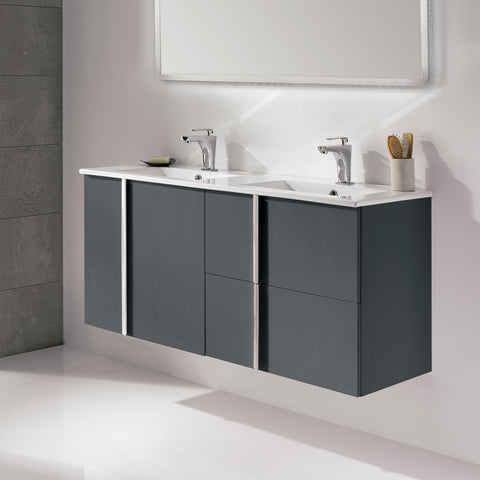 "Royo Onix Vanity: Wall-hung Cabinet and Double Sink 48"" (Antracite/Dark Gray) - Mega Supply Store - 1"