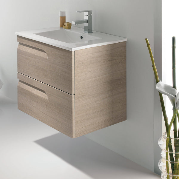 "Royo Vitale Vanity: Wall-hung Cabinet and Sink 24"" in Sahara Gray - Mega Supply Store - 1"