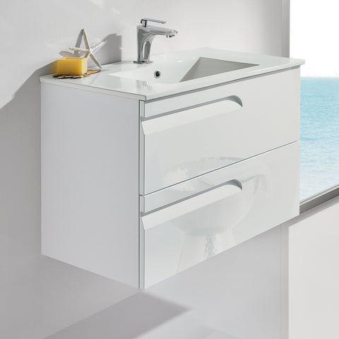 "Royo Vitale Premium Bathroom Wall-hung Vanity - Cabinet and Sink 24"" White - Mega Supply Store - 1"