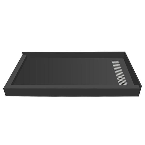 "Tile Redi RT4860RDL-PVC-SQBN 48"" x 60"" fully Integrated Right PVC Trench Drain Shower Pan/Tray - Mega Supply Store - 1"