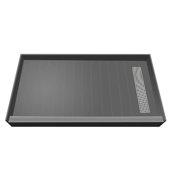 "Tile Redi RT3360R-PVC-SQBN 33"" x 60"" fully Integrated Shower Pan, with Right PVC Trench Drain - Mega Supply Store - 1"