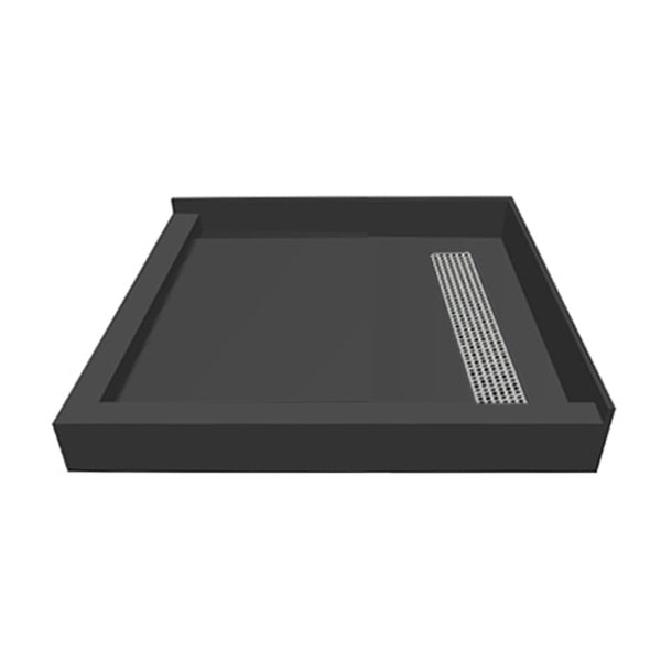 "Tile Redi RT4242RDL-PVC-SQBN 42"" x 42"" fully Integrated Right PVC Trench Drain Shower Pan/Tray - Mega Supply Store - 1"