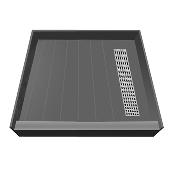 "Tile Redi RT4242R-PVC-SQPC 42"" x 42"" fully Integrated Shower Pan, with Right PVC Trench Drain - Mega Supply Store - 1"