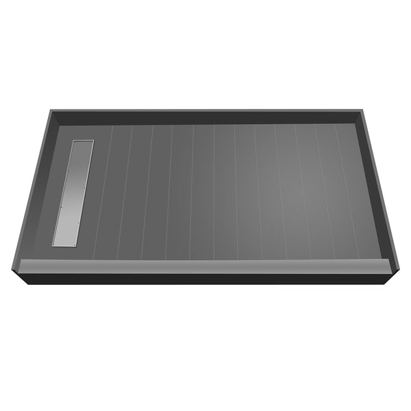 "Tile Redi RT4860L-PVC-TBN 48"" x 60"" fully Integrated Shower Pan, with Left PVC Trench Drain - Mega Supply Store - 1"