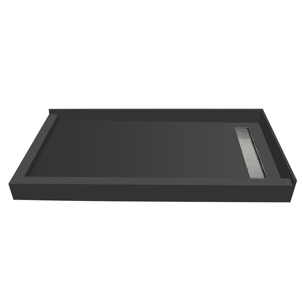 "Tile Redi RT4260RDL-PVC-TBN 42"" x 60"" fully Integrated Right PVC Trench Drain Shower Pan/Tray - Mega Supply Store - 1"