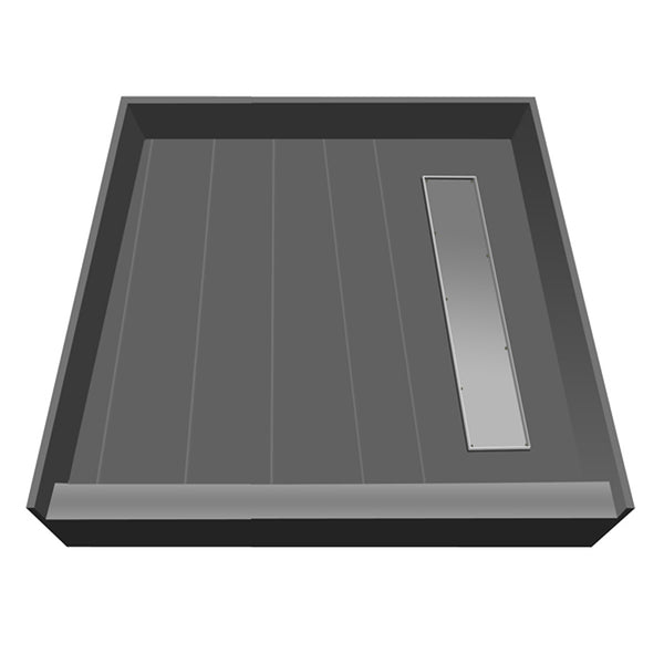 "Tile Redi RT4242R-PVC-TBN 42"" x 42"" fully Integrated Shower Pan, with Right PVC Trench Drain - Mega Supply Store - 1"