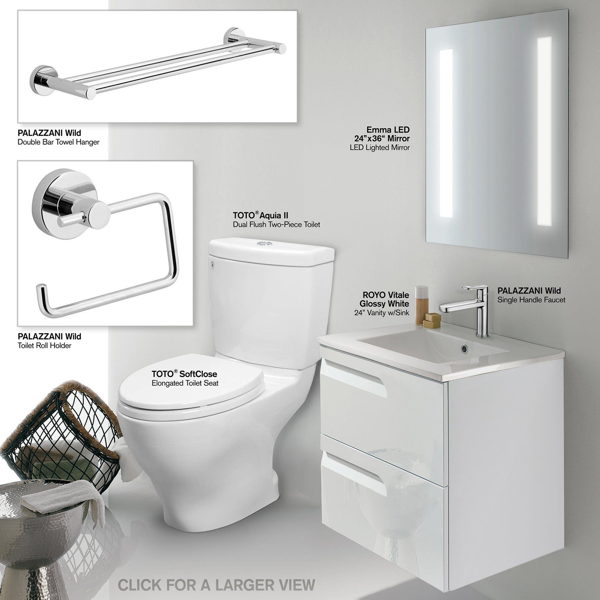 Bathroom and toilet accessories - Bathroom Vanity Set Includes Toto Cst416m 01 Toilet 24 Royo Wall