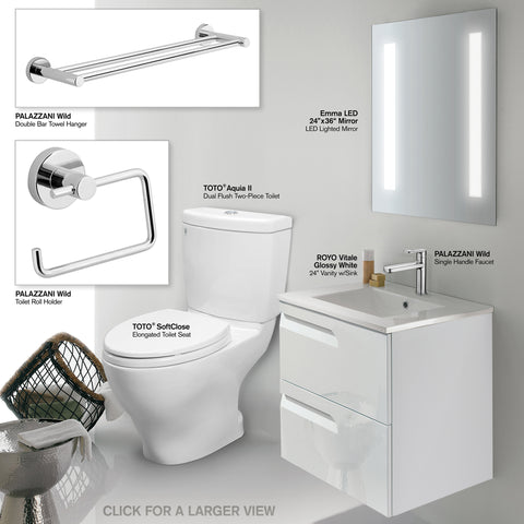 "Bathroom Vanity Set - INCLUDES: TOTO CST416M#01 Toilet, 24"" Royo Wall-Hung White Vanity with Top/Sink, Bathroom Mirror, Palazzani Faucet, Palazzani Towel Hanger & Toilet Paper Holder"