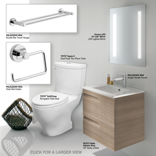 "Bathroom Vanity Set - INCLUDES: TOTO CST416M#01 Toilet, 24"" Royo Wall-Hung Brown Vanity with Top/Sink, LED/Backlit Mirror, Palazzani Faucet, Palazzani Towel Hanger & Toilet Paper Holder"