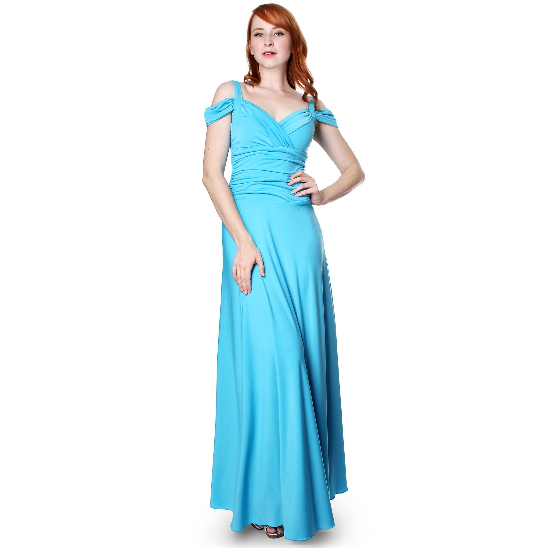 Evanese Women\'s Slip On Elegant Formal Long Evening Dress Full ...