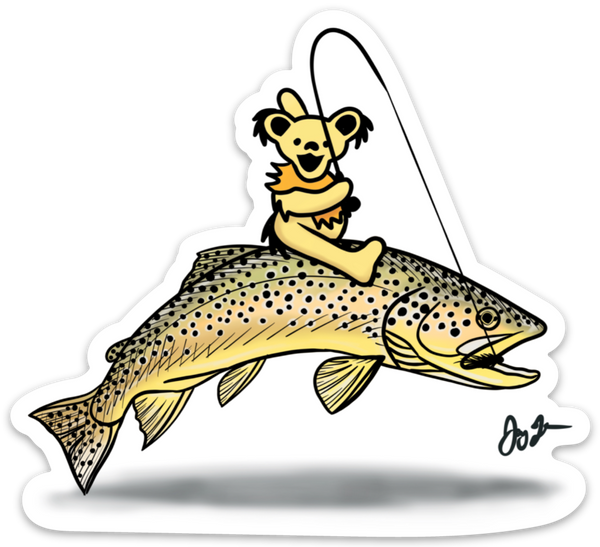 Bear Riding Brown Trout decal