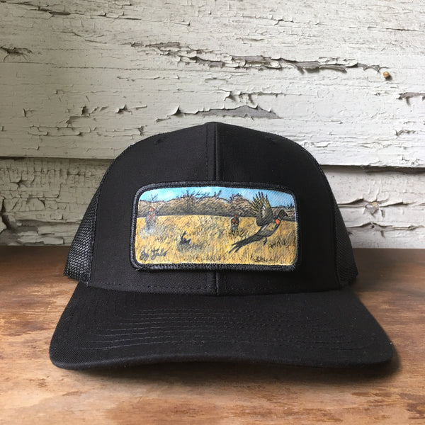 Original Painted Pheasant Hunting Scene Hat