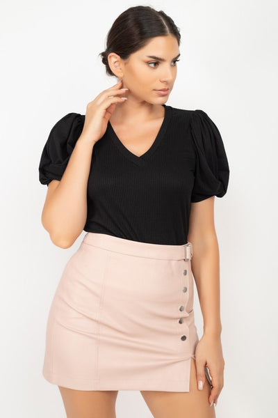 Twisted Puff Sleeves Ribbed Top