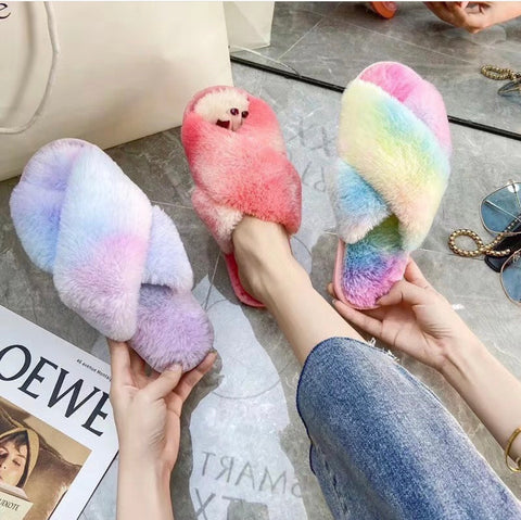 Tie Dye Faux Fur Slipper