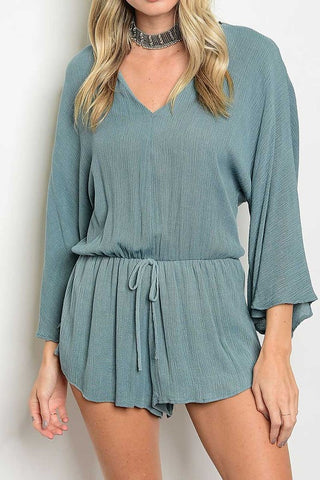 LONG SLEEVE V-NECKLINE WAIST TIE RELAXED FIT ROMPER