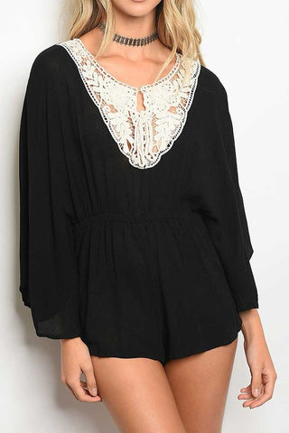 LONG SLEEVE SCOOP NECK GATHERED WAIST LACE DETAILED ROMPER
