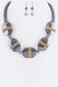 Chained Stone & Bead Statement Necklace Set