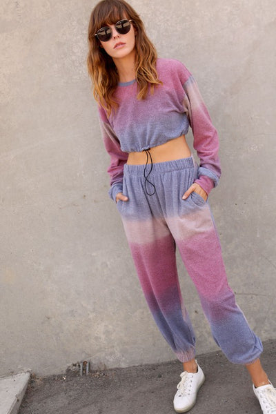 I like Candy Tie Dye Crop Top + Jogger Set