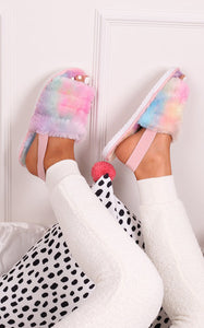 Tie Dye Faux Fur Sandals Slippers