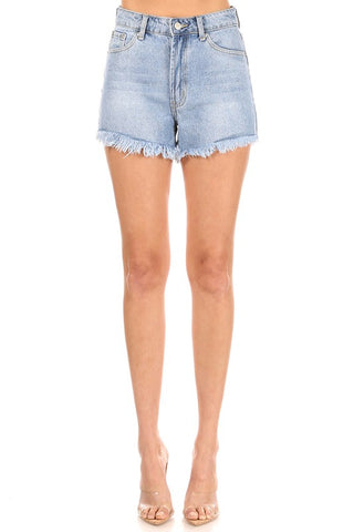 Cut-Off Denim Shorts Frayed Edges