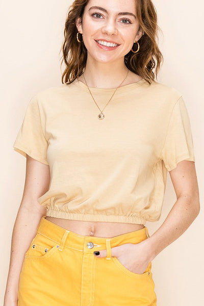 Basic Elastic Waist Crop Top