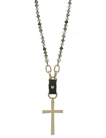 Crystal Beaded Necklace with Gold Cross