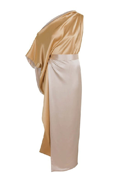 One shoulder Silk Roman Dress