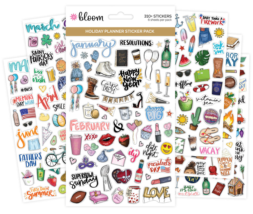 Planner sticker sheets holiday planner decorating stickers bloom bloom daily planners