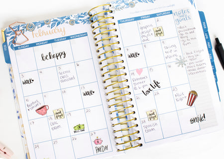 Undated Daily To Do List Planner & Calendar, Blue Floral