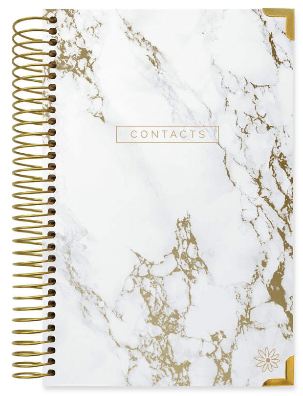 Contact Book, Marble Gold Stamp