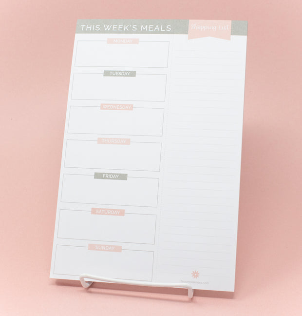 "Meal Planning Pad with Magnets, 6"" x 9"", Grey & Pink - IMPERFECT"