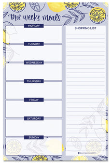 "Meal Planning Pad with Magnets, 6"" x 9"", Lemons - IMPERFECT"