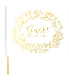Guest Book / Guest Planner, Gold Floral