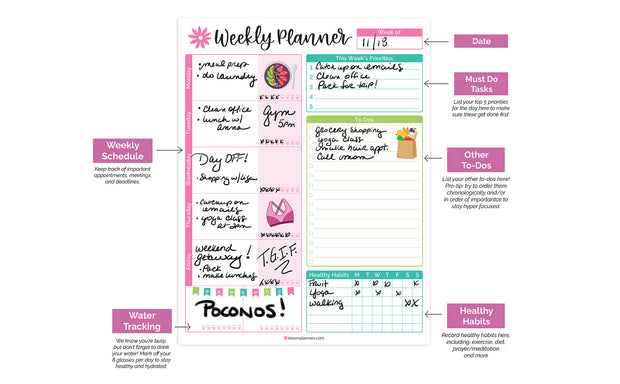 "Weekly Planning System Pad, Bloom, 8.5"" x 11""-IMPERFECT"