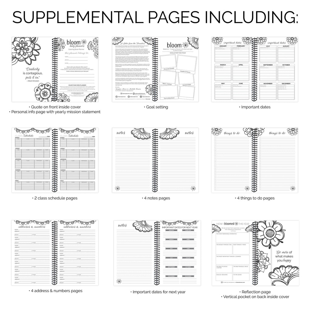 photo relating to Daily Planner Page named Undated Everyday Planner Calendar, Coloring Ebook