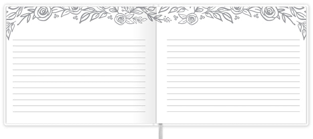Guest Book / Guest Planner, Silver Floral