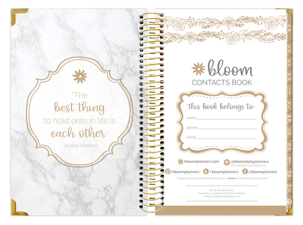 Contact Book, Marble Gold Stamp - IMPERFECT