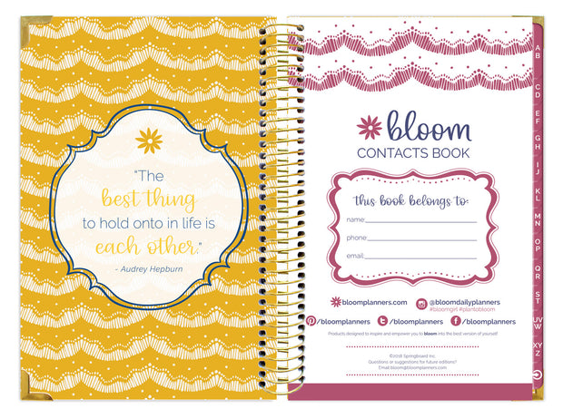 Contact Book, Vintage Floral Gold Stamp - IMPERFECT