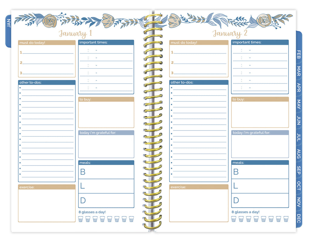 picture about Daily Planners identified as Undated Every day Toward Do Listing Planner Calendar, Blue Floral