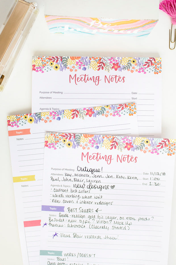 "Meeting Notes Planning Pad, 8.5"" x 11""-IMPERFECT"