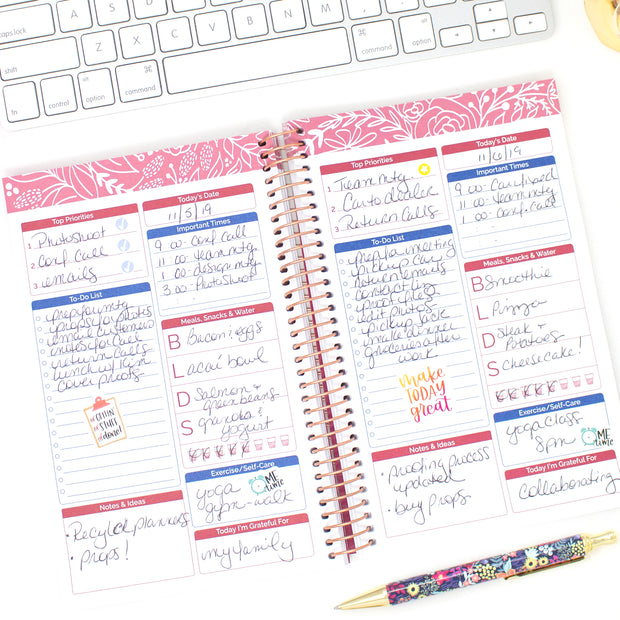 Bound To-Do Book, Blue & Red Floral