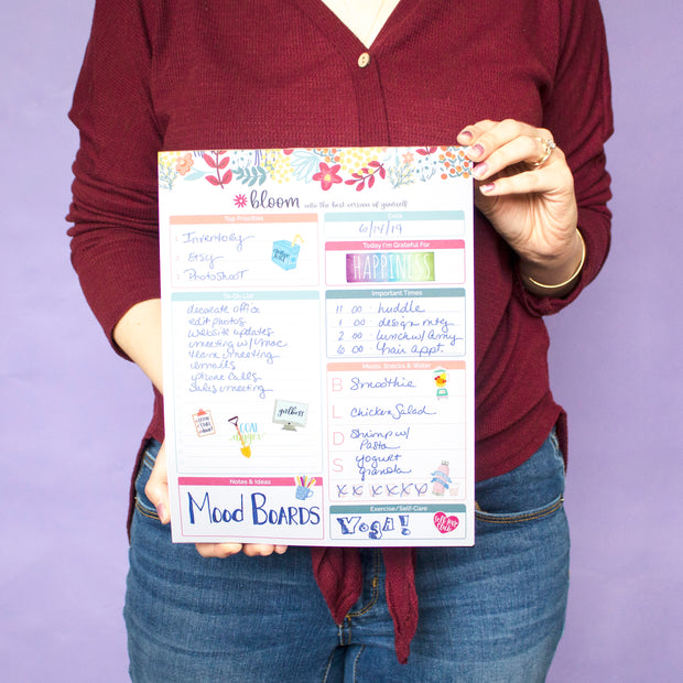 "Daily Planning System Pad, Floral Dots, 8.5"" x 11"""