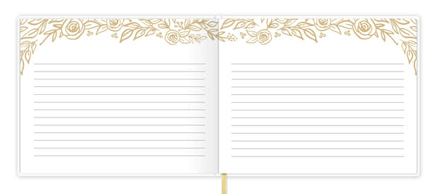 Guest Book / Guest Planner, Gold Floral 1