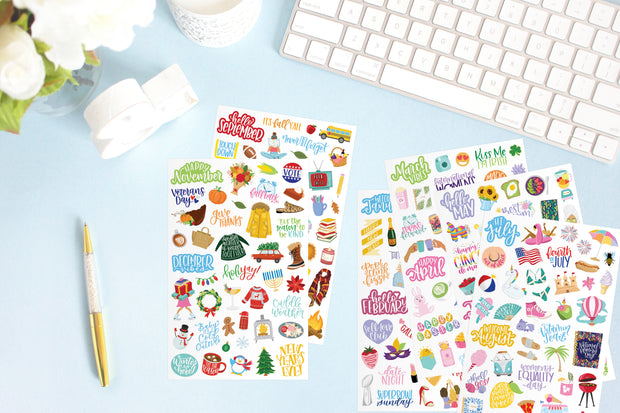 Sticker Sheets, Holiday Planner Stickers - IMPERFECT