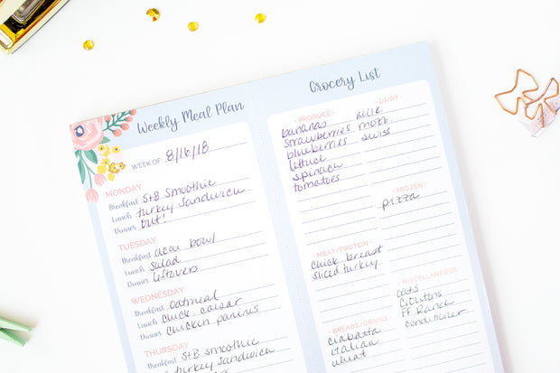 "Meal Planning Pad with Magnets & Perforated Shopping List, 8.5"" x 11"" - IMPERFECT"