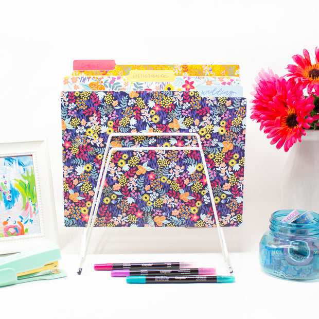 File Folder Set, Floral Dots