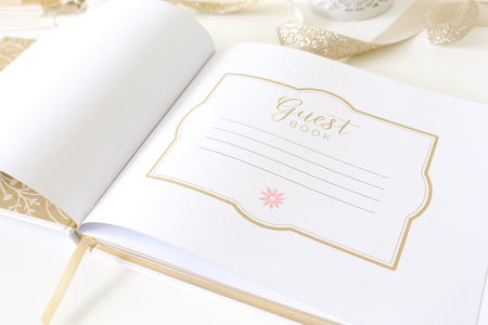 Guest Book, Floral Gold Foil - IMPERFECT