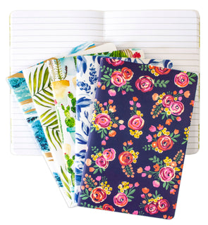 Mini Lined Notebook Set of 5, Assorted Patterns - PRE-ORDER