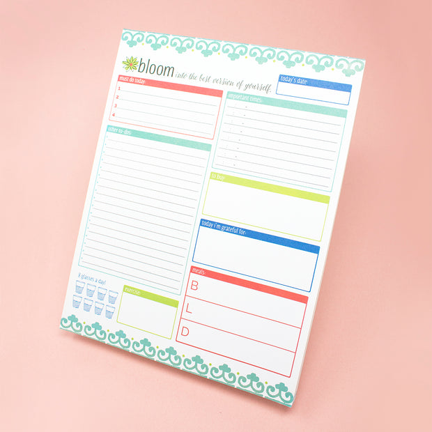 "Daily Planning System Pad, Teal, 8.5"" x 11"""